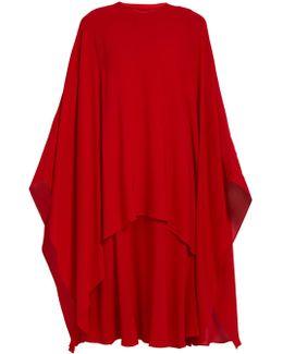 Detachable-cape Silk-crepe Dress