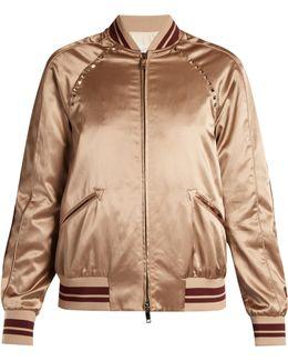 Rockstud-embellished Satin Bomber Jacket