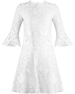 Fluted-sleeve Lace Dress