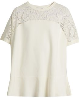 Round-neck Lace-panel Sweater