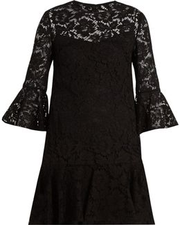 Fluted Sleeve And Hem Cotton-blend Lace Dress