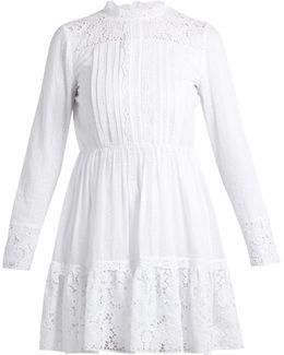 High-neck Cotton-blend Lace Mini Dress