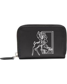 Bambi©-print Zip-around Leather Cardholder