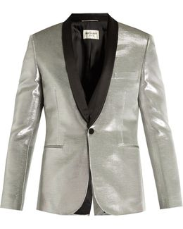 Satin-lapel Single-breasted Lamé Blazer