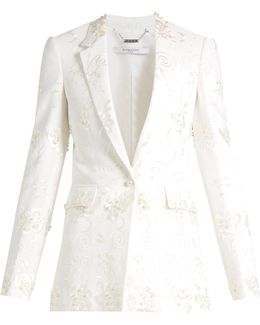 Floral-embroidery Stretch-crepe Jacket