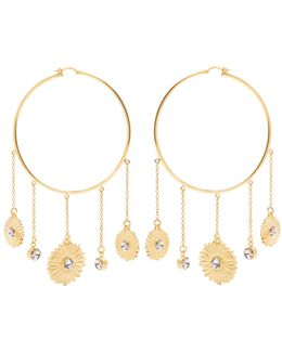Flower-motif Large Hoop Earrings