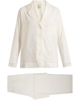 Inès Lace-trimmed Cotton Pyjama Set