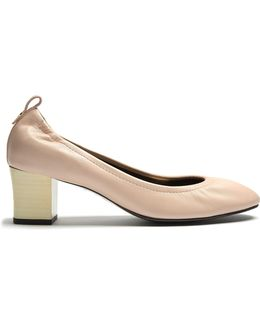 Lightly-grained Leather Pumps