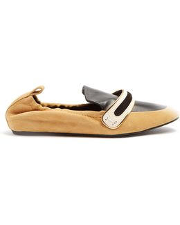Bi-colour Suede And Leather Flats