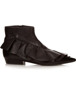 Ruffled Leather Ankle Boots