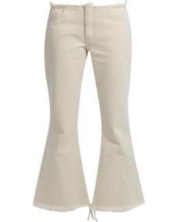 Capri Frayed-edge Flared Cropped Jeans