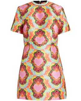 Heart-print Twill Mini Dress