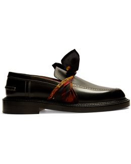 Silk-scarf Tie-front Leather Loafer