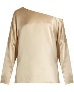 Asymmetric Silk-satin Top