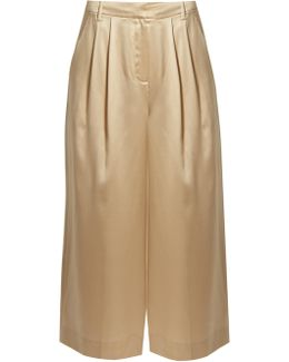 Mid-rise Wide-leg Cropped Silk-satin Trousers