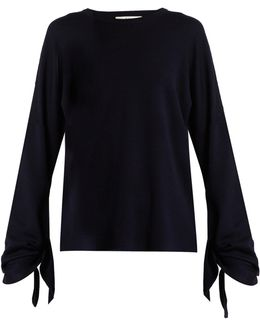 Tie-sleeve Wool Sweater