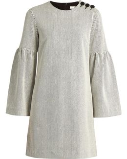 Bell-sleeve Ribbed Dress