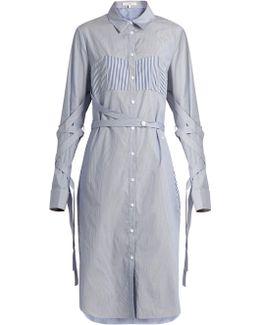 Sleeve And Waist-tie Striped Cotton Shirtdress