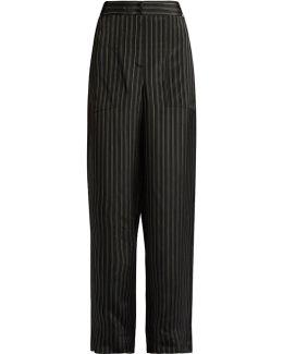 Striped Wide-leg Satin Trousers