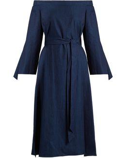Off-the-shoulder Tie-cuff Denim Dress
