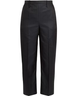 Cotton-blend Cropped Straight-leg Trousers