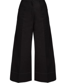 Cotton And Linen-blend Wide-leg Cropped Trousers