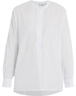 Striped Gathered-back Cotton Shirt