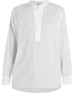 Collarless Gathered-back Cotton Shirt