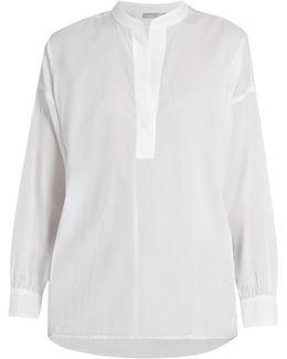 Collarless Gathered-back Cotton Shirt
