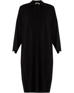 Point-collar Stretch-crepe Dress