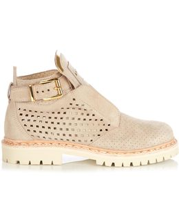 King Perforated Suede Ankle Boots