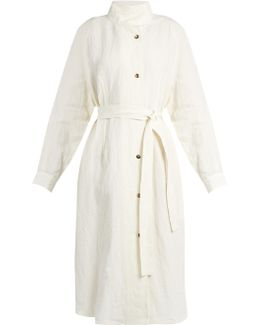 Stand-collar Linen Trench Coat
