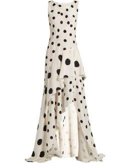 Polka-dot Print Ruffled Silk Gown