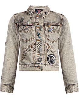 Paradise-embellished Denim Jacket