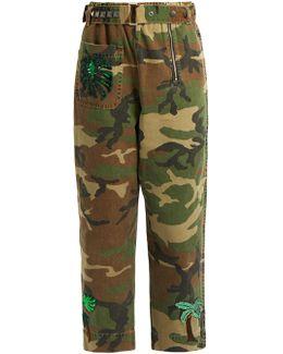 Patch-appliqué Camouflage-print Trousers