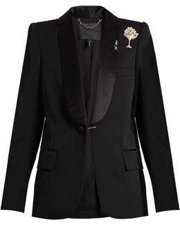 Satin-lapel Embellished-brooch Wool Tuxedo Jacket