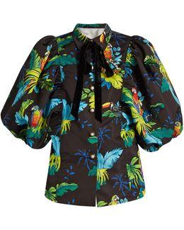 Tropical Bird-print Puff-sleeved Jacket