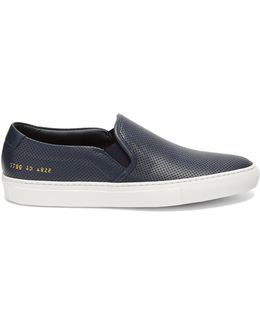Perforated Slip-on Leather Trainers