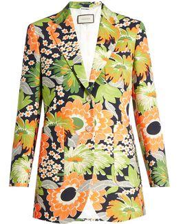 Floral-print Wool-blend Blazer