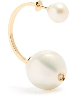 Diamond, Pearl & Yellow-gold Earring
