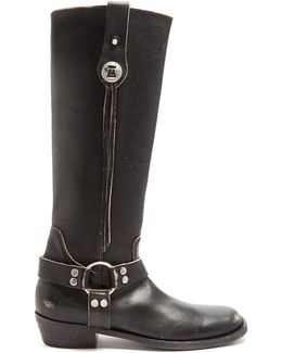 Santiago Distressed-leather Knee-high Boots