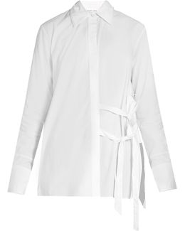Tie-front Cotton-poplin Shirt