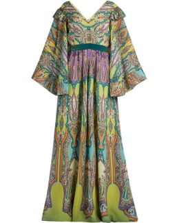 V-neck Paisley-print Silk-crepe Gown