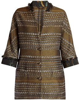 Contrast Collar And Cuff Tweed Coat