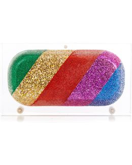 Rainbow Pill Glitter Perspex Clutch