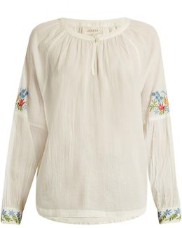 The Sonnet Floral-embroidered Cotton Top