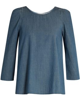 The Darling Ruched-shoulder Cotton-chambray Top