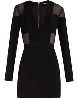 Sheer-panelled Double-crepe Mini Dress