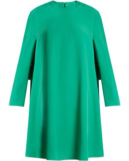Long-sleeved Crepe Mini Dress
