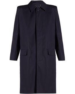 Structured-shoulder Cotton Trench Coat